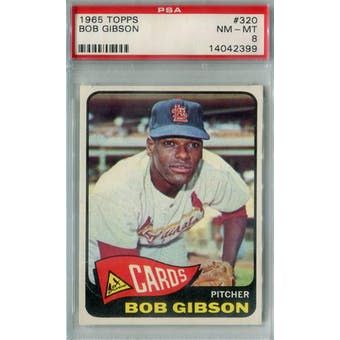 1965 Topps Baseball #320 Bob Gibson PSA 8 (NM-MT) *2399 (Reed Buy)