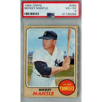 1968 Topps Baseball #280 Mickey Mantle PSA 4 (VG-EX) *9289 (Reed Buy)