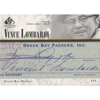 2002 SP Legenday Cuts Vince Lombardi Auto Card #LC-VL