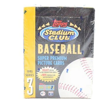 1993 Topps Stadium Club Series 3 Baseball Hobby Box