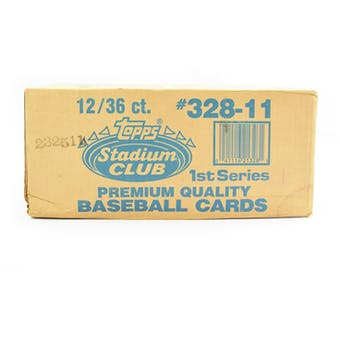 1991 Topps Stadium Club Series 1 Baseball Wax 12-Box Case (Reed Buy)