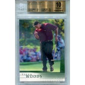 2001 Upper Deck Golf #1 Tiger Woods RC BGS 10 (Pristine) *4430 (Reed Buy)