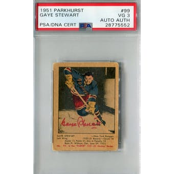 1951/52 Parkhurst #99 Gaye Stewart RC PSA 3 Auto AUTH *5552 (Reed Buy)