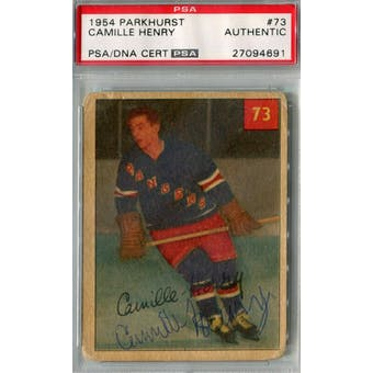 1954/55 Parkhurst #73 Camille Henry RC Auto AUTH *4691 (Reed Buy)