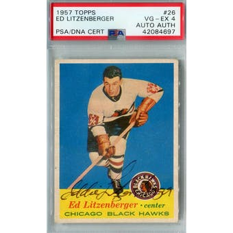 1957/58 Topps #26 Ed Litzenberger RC PSA 4 Auto AUTH *4697 (Reed Buy)