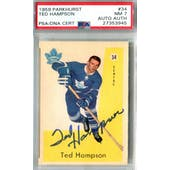 1959/60 Parkhurst #34 Ted Hampson RC PSA 7 Auto AUTH *3945 (Reed Buy)