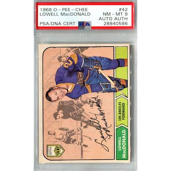 1968/69 O-Pee-Chee #42 Lowell MacDonald RC PSA 8 Auto AUTH *0586 (Reed Buy)