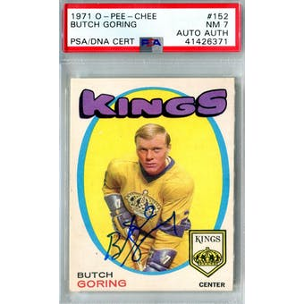 1971/72 O-Pee-Chee #152 Butch Goring RC PSA 7 Auto AUTH *6371 (Reed Buy)