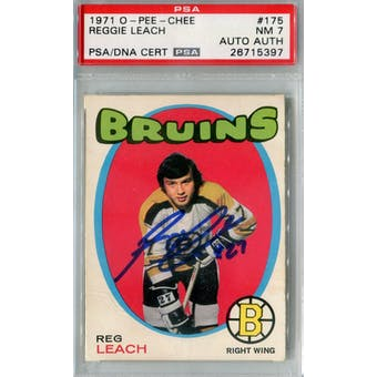 1971/72 O-Pee-Chee #175 Reggie Leach RC PSA 7 Auto AUTH *5397 (Reed Buy)