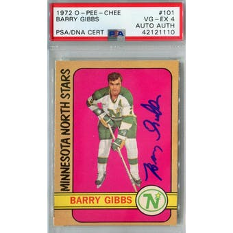 1972/73 O-Pee-Chee #101 Barry Gibbs RC PSA 4 Auto AUTH *1110 (Reed Buy)