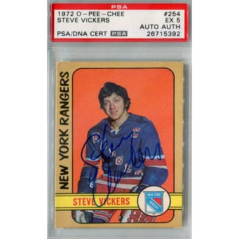 1972/73 O-Pee-Chee #254 Steve Vickers RC PSA 5 Auto AUTH *5392 (Reed Buy)