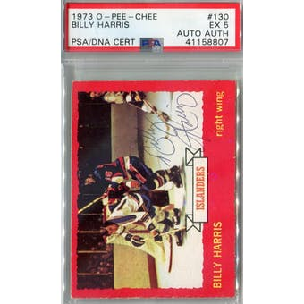 1973/74 O-Pee-Chee #130 Billy Harris RC PSA 5 Auto AUTH *8807 (Reed Buy)