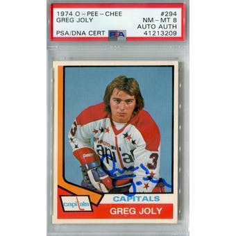 1974/75 O-Pee-Chee #294 Greg Joly RC PSA 8 Auto AUTH *3209 (Reed Buy)