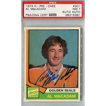1974/75 O-Pee-Chee #301 Al MacAdam RC PSA 7 Auto AUTH *5391 (Reed Buy)