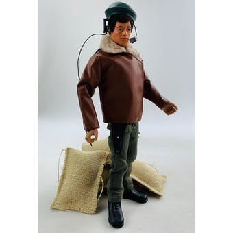 Action Man Fuzzy Head Pilot Figure with Tan Leather Jacket & Weapon!