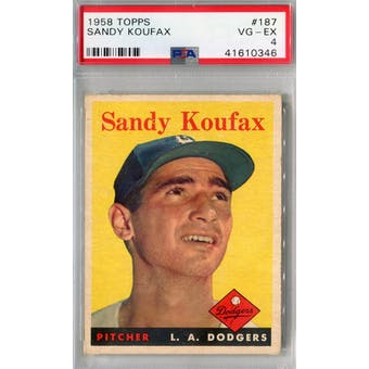 1958 Topps Baseball #187 Sandy Koufax PSA 4 (VG-EX) *0346 (Reed Buy)