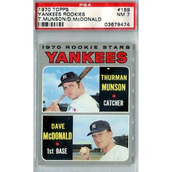 1970 Topps Baseball #189 Thurman Munson RC PSA 7 (NM) *9474 (Reed Buy)