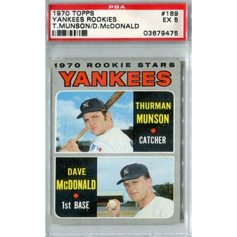1970 Topps Baseball #189 Thurman Munson RC PSA 5 (EX) *9475 (Reed Buy)
