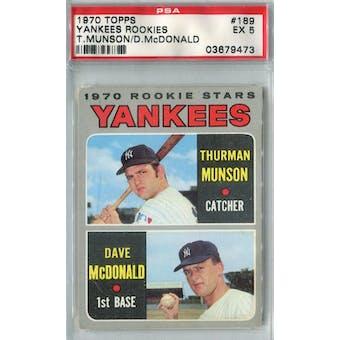 1970 Topps Baseball #189 Thurman Munson RC PSA 5 (EX) *9473 (Reed Buy)