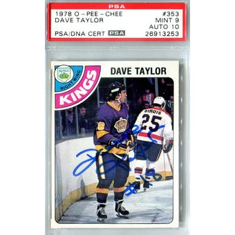 1978/79 O-Pee-Chee #353 Dave Taylor RC PSA 9 Auto 10 *3253 (Reed Buy)