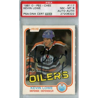 1981/82 O-Pee-Chee #117 Kevin Lowe RC PSA 8 Auto AUTH *8322 (Reed Buy)