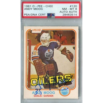 1981/82 O-Pee-Chee #120 Andy Moog RC PSA 8 Auto AUTH *3514 (Reed Buy)
