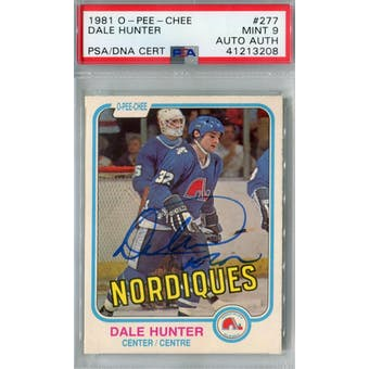 1981/82 O-Pee-Chee #277 Dale Hunter RC PSA 9 Auto AUTH *3208 (Reed Buy)