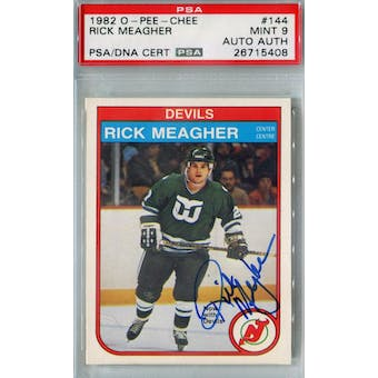 1982/83 O-Pee-Chee #144 Rick Meagher RC PSA 9 Auto AUTH *5408 (Reed Buy)