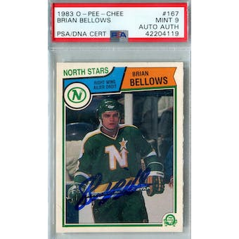 1983/84 O-Pee-Chee #167 Brian Bellows RC PSA 9 Auto AUTH *4119 (Reed Buy)