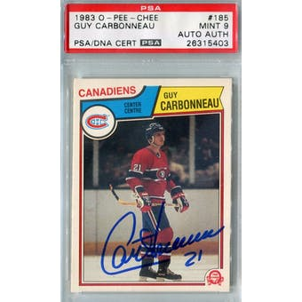 1983/84 O-Pee-Chee #185 Guy Carbonneau RC PSA 9 Auto AUTH *5403 (Reed Buy)