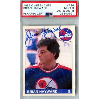 1985/86 O-Pee-Chee #226 Brian Hayward RC PSA 9 Auto AUTH *0591 (Reed Buy)