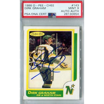 1986/87 O-Pee-Chee #143 Dirk Graham RC PSA 9 Auto AUTH *0654 (Reed Buy)
