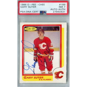 1986/87 O-Pee-Chee #189 Gary Suter RC PSA 7 Auto AUTH *0431 (Reed Buy)