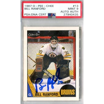 1987/88 O-Pee-Chee #13 Bill Ranford RC PSA 9 Auto AUTH *0435 (Reed Buy)