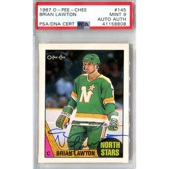 1987/88 O-Pee-Chee #145 Brian Lawton RC PSA 9 Auto AUTH *8808 (Reed Buy)