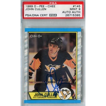 1989/90 O-Pee-Chee #145 John Cullen RC PSA 9 Auto AUTH *5395 (Reed Buy)