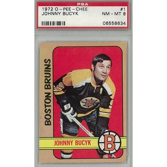 1972/73 O-Pee-Chee Hockey #1 Johnny Bucyk PSA 8 (NM-MT) *8634 (Reed Buy)