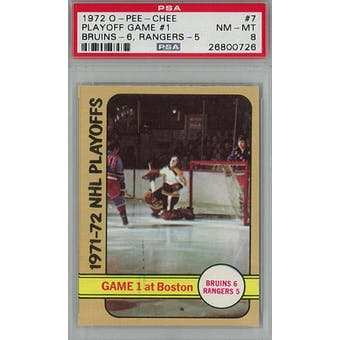 1972/73 O-Pee-Chee Hockey #7 Playoff Game #1 PSA 8 (NM-MT) *0726 (Reed Buy)