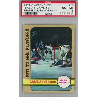 1972/73 O-Pee-Chee Hockey #20 Playoff Game #2 PSA 8 (NM-MT) *1523 (Reed Buy)