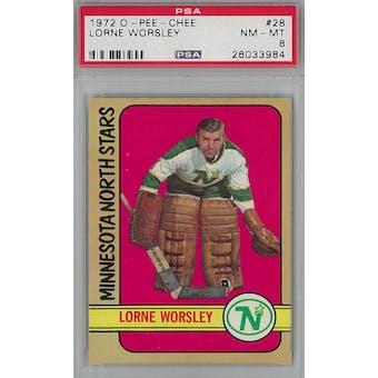 1972/73 O-Pee-Chee Hockey #28 Lorne Gump Worsley PSA 8 (NM-MT) *3984 (Reed Buy)