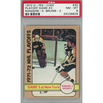 1972/73 O-Pee-Chee Hockey #30 Playoff Game #3 PSA 8 (NM-MT) *6829 (Reed Buy)