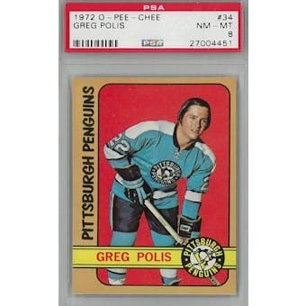 1972/73 O-Pee-Chee Hockey #34 Greg Polis PSA 8 (NM-MT) *4451 (Reed Buy)