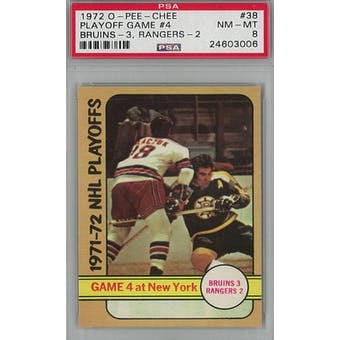 1972/73 O-Pee-Chee Hockey #38 Playoff Game #4 PSA 8 (NM-MT) *3006 (Reed Buy)