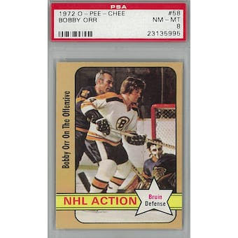 1972/73 O-Pee-Chee Hockey #58 Bobby Orr PSA 8 (NM-MT) *5995 (Reed Buy)