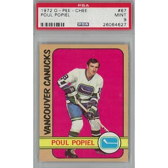 1972/73 O-Pee-Chee Hockey #67 Poul Popiel PSA 9 (Mint) *4627 (Reed Buy)