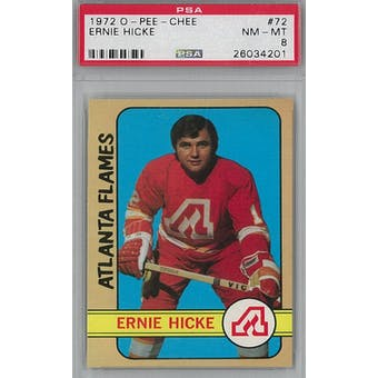 1972/73 O-Pee-Chee Hockey #72 Ernie Hicke PSA 8 (NM-MT) *4201 (Reed Buy)