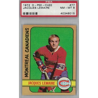 1972/73 O-Pee-Chee Hockey #77 Jacques Lemaire PSA 8 (NM-MT) *8015 (Reed Buy)