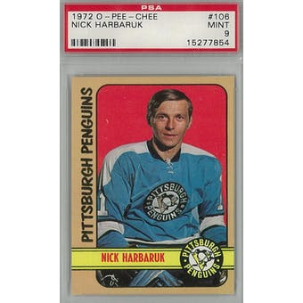 1972/73 O-Pee-Chee Hockey #106 Nick Harbaruk PSA 9 (Mint) *7854 (Reed Buy)