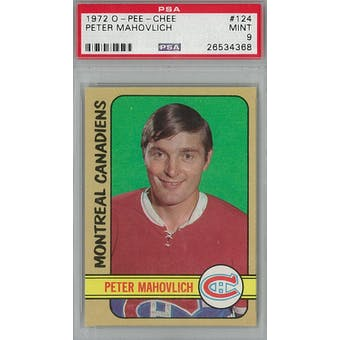 1972/73 O-Pee-Chee Hockey #124 Peter Mahovlich PSA 9 (Mint) *4368 (Reed Buy)