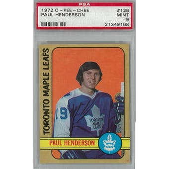 1972/73 O-Pee-Chee Hockey #126 Paul Henderson PSA 9 (Mint) *9108 (Reed Buy)